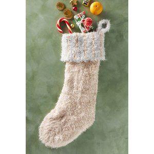 Anthropologie Lorelle Metallic Christmas Stocking